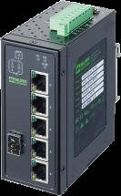 6 porte unmanaged Gbit Switch 4 porte PoE 1 SFP IP20 metal 48V
