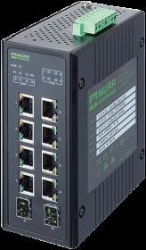 10 Port unmanaged Gigabit Switch 4 PoE 2 SFP Ports IP20 metal