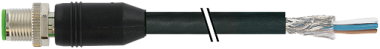 M12 mas. 0° schermato con cavo