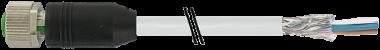 M12 fem. 0° schermato con cavo