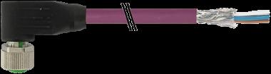 M12 fem. 90° schermato B-code, cavo, 4 poli