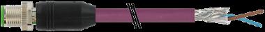 M12 mas. 0° scher. B-code c. Profibus