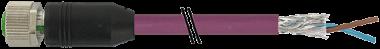 M12 fem. 0° scher. B-code cavo Profibus