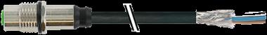 M12 conn. f. flangia schermato att. post.