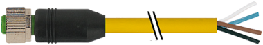 M12 fem. 0° con cavo V4A