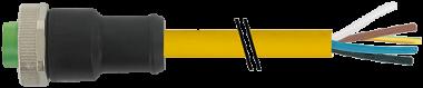 Mini (7/8) 5 poli, fem. 0° con cavo