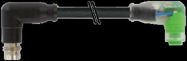 M8 spina angol. / M8 presa angol. snap-in con LED