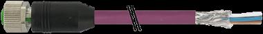 M12 fem. 0° scherm. B-code cavo, 4 poli