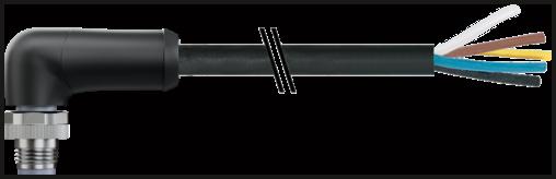 M12 Power L-code 5poli mas. 90° con cavo