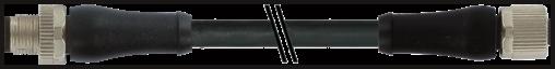 M12 Power L-code 4poli mas. 0° / fem. 0°