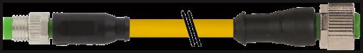 M8 mas. 0° / M12 fem. 0° 3 poli