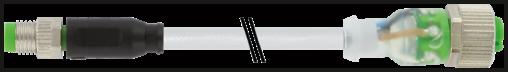 M8 mas. 0° / M12 fem. 0° 3 poli LED