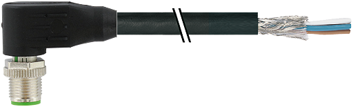 M12 mas. 90° schermato con cavo