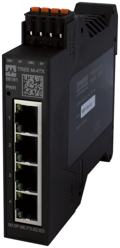 PN managed Switch 4x10/100BT IP20 plas RJ45