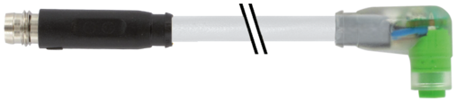 M8 mas. 0°/M8 fem. 90° snap-in LED