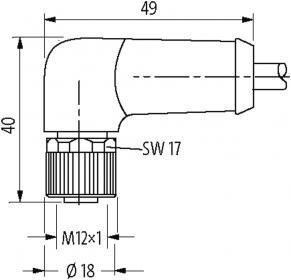 M12 Power L-code 5poli fem. 90° con cavo